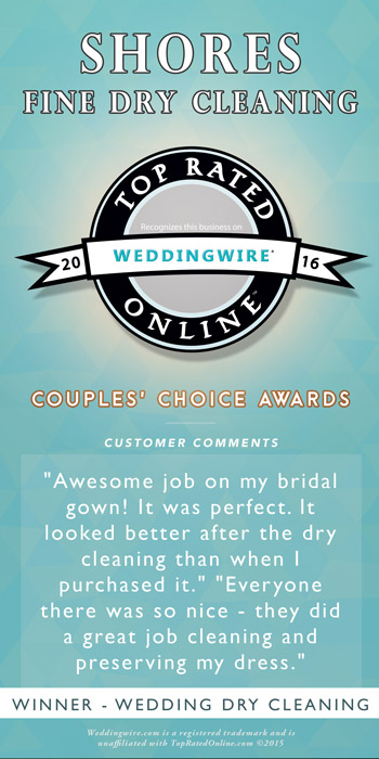 Wedding Wire 2016 Couple's Choice Award winner Shore's Fine Cleaners
