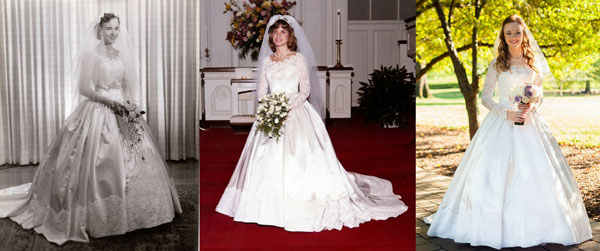 Wedding Dress passed from generation to generation thanks to Shores Fine Cleaners preservation, restoration and cleaning
